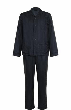 Шелковая пижама с брюками Ermenegildo Zegna. Цвет: темно-синий