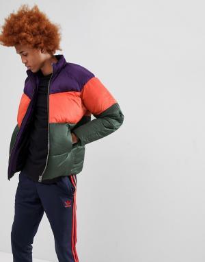 ASOS Дутая куртка в стиле колор блок. Цвет: фиолетовый