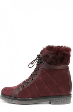 Замшевые ботинки с прострочкой и меховой отделкой Baldan. Цвет: бордовый