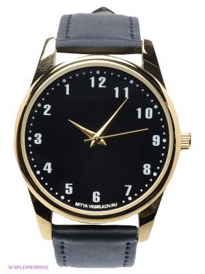 Часы Обратный циферблат Mitya Veselkov. Цвет: черный