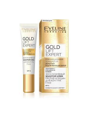 Эксклюзивный золотой крем против морщин для контура глаз серии Gold Lift Expert, 15 мл EVELINE. Цвет: белый
