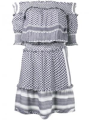 Платье с открытыми плечами Keffiyeh Cecilie Copenhagen. Цвет: синий