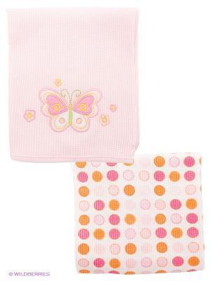 Пеленальное одеяльце, 2 шт. Spasilk. Цвет: белый, бледно-розовый, розовый