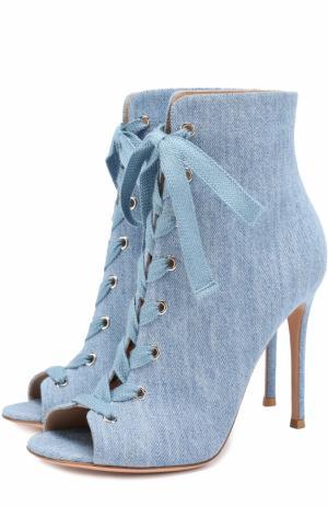 Ботильоны Marie из денима на шнуровке Gianvito Rossi. Цвет: голубой