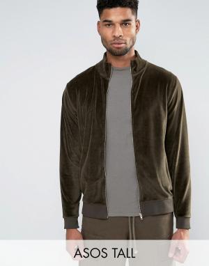 ASOS Велюровая спортивная куртка TALL. Цвет: зеленый