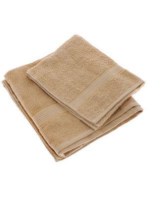Набор из 2х махровых полотенец кофе с молоком - 50*90, 70х140, УзТ-НПМ-102-23 Aisha. Цвет: коричневый