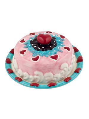 Подставка для торта  с крышкой Biscuits Elff Ceramics. Цвет: розовый