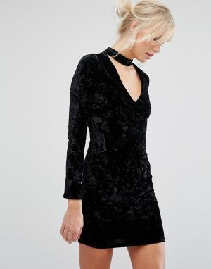Parisian Бархатное облегающее платье с отделкой на горловине. Цвет: черный