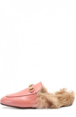 Кожаные сабо Princetown с пряжкой-трензелем Gucci. Цвет: розовый