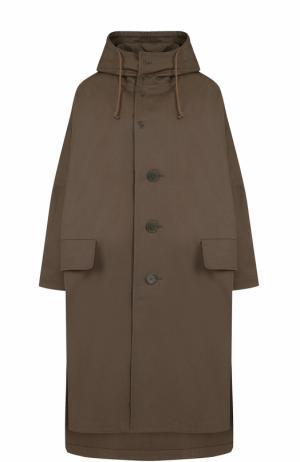 Хлопковое пальто свободного кроя с капюшоном Yohji Yamamoto. Цвет: хаки