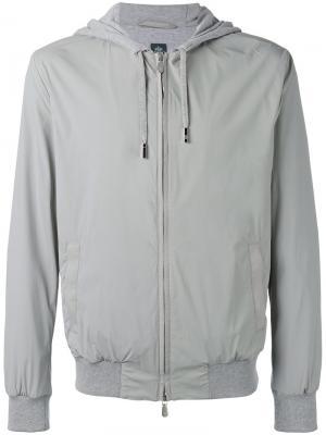 Zip hooded jacket Eleventy. Цвет: серый