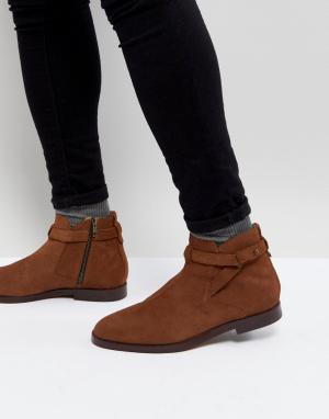 H by Hudson Светло-коричневые замшевые ботинки челси Cutler. Цвет: рыжий