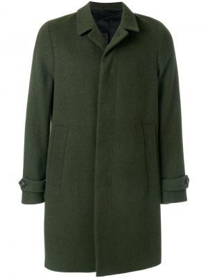 Классическое пальто на пуговицах Hevo. Цвет: зелёный