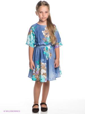 Платье Vika Smolyanitskaya. Цвет: синий, бирюзовый, коричневый