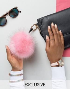 My Accessories Брелок для ключей с розовым помпоном из искусственного меха Accesso. Цвет: розовый