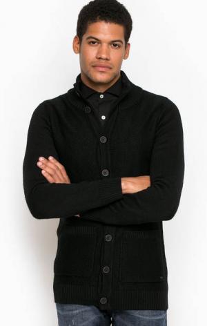 Черный трикотажный кардиган Liu Jo Uomo. Цвет: черный