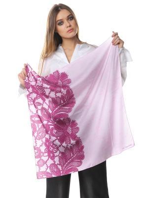 Платок шелк Розово-сиреневое кружево вполовину SEANNA. Цвет: розовый
