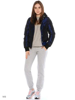 Куртка W MICR ROLO JKT POBLUE/WHITE Adidas. Цвет: синий