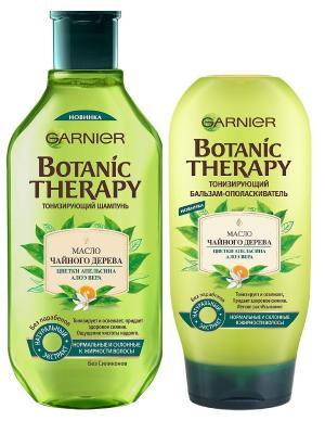Шампунь+Бальзам Botanic Therapy. Масло чайного дерева для нормальных ,жирных волос,400+200 мл Garnier. Цвет: белый