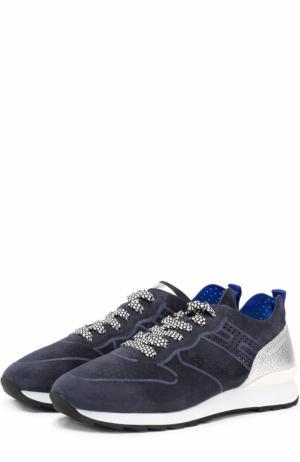 Комбинированные кроссовки с перфорацией Hogan. Цвет: темно-синий