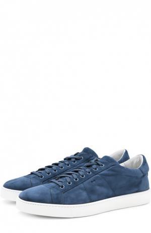 Замшевые кеды на шнуровке Santoni. Цвет: темно-синий