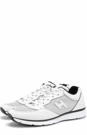 Кожаные кроссовки на шнуровке с перфорацией Hogan. Цвет: белый
