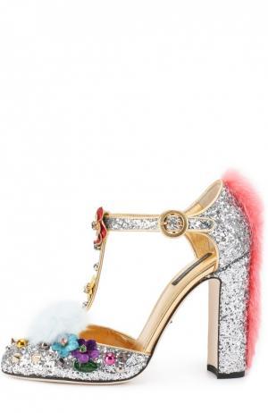 Туфли Vally с глиттером и декором Dolce & Gabbana. Цвет: серебряный