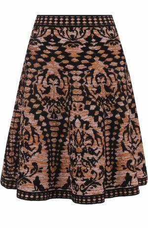 Вязаная мини-юбка с принтом M Missoni. Цвет: коричневый