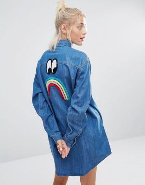 Lazy Oaf Удлиненная джинсовая рубашка с разноцветными пуговицами. Цвет: синий