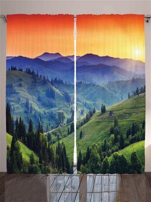 Комплект фотоштор Оранжевый рассвет над горами, 290x265 см Magic Lady. Цвет: оранжевый, синий, зеленый, фиолетовый, красный