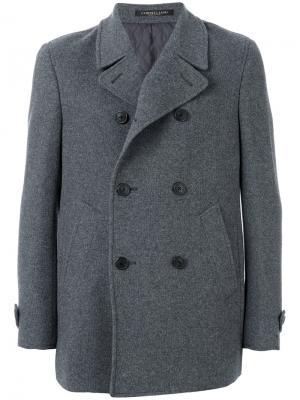 Двубортное пальто Corneliani. Цвет: серый