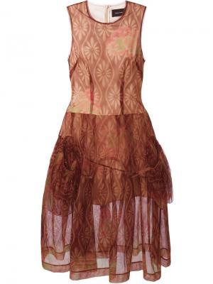 Платье с цветочным принтом Simone Rocha. Цвет: красный