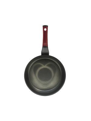 Сковорода, литой алюминий, антипригарное покрытие 3D (рисунок Сердце) OURSSON. Цвет: темно-бордовый