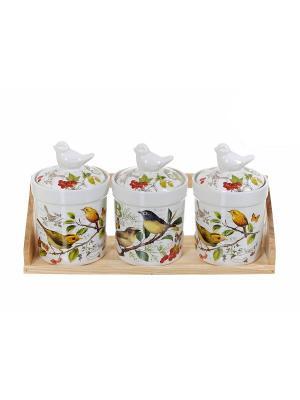 Набор банок для сыпучих продуктов Birds, Polystar. Цвет: светло-зеленый