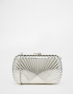 Vintage Styler Серебристый фактурный клатч в стиле арт-деко. Цвет: серебряный