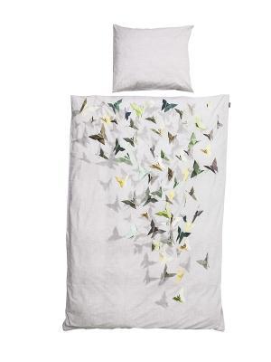 Комплект постельного белья Бабочки 150х200см SNURK. Цвет: серый, желтый, зеленый