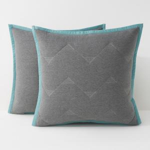 Чехол-наволочка, MALMÖ La Redoute Interieurs. Цвет: серый/сине-бирюзовый