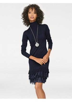 Трикотажное платье Linea Tesini. Цвет: темно-синий