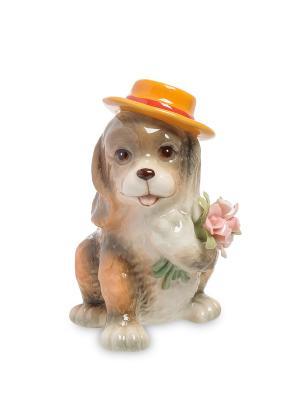 Статуэтка Собака с букетом (Pavone) Pavone. Цвет: серый, белый, коричневый
