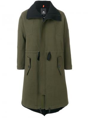 Пальто со сборкой на поясе Tom Rebl. Цвет: зелёный