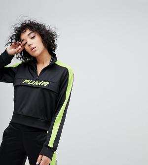 Puma Черная спортивная куртка с зеленой неоновой отделкой эксклюзивно. Цвет: черный