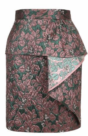 Жаккардовая мини-юбка с оборкой Tara Jarmon. Цвет: зеленый
