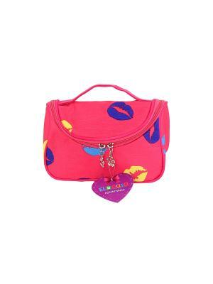 Косметичка - сумочка Розовая с губами EL CASA. Цвет: розовый, желтый, синий, голубой