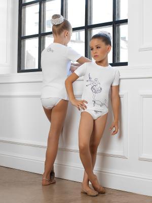 Комплект для девочек (футболка, трусы) Arina Ballerina. Цвет: белый