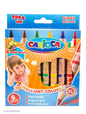 Набор восковых карандашей BABY JUMBO, в деревянном корпусе, 6 цв, +точилка Universal. Цвет: синий