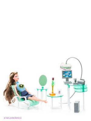 Набор мебели для кукол: офис - Красотка 1Toy. Цвет: голубой, темно-синий, зеленый