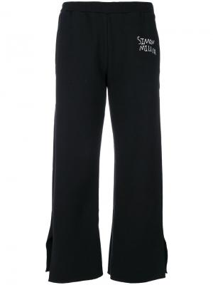 Укороченные брюки с вышитым логотипом Simon Miller. Цвет: чёрный