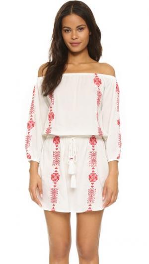 Мини-платье Bardot PAMPELONE. Цвет: белый/красный