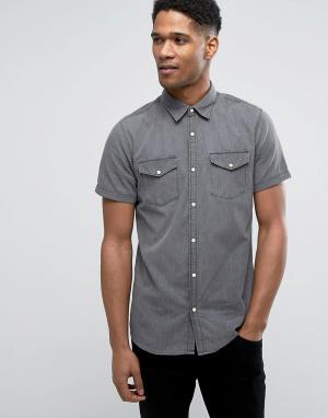 Jack & Jones Светлая джинсовая рубашка слим с короткими рукавами Origi. Цвет: черный