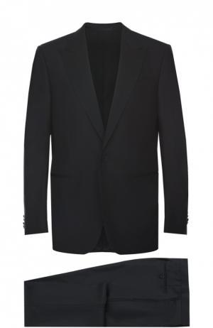Смокинг из смеси шерсти и шелка с остроконечными лацканами Ermenegildo Zegna. Цвет: черный